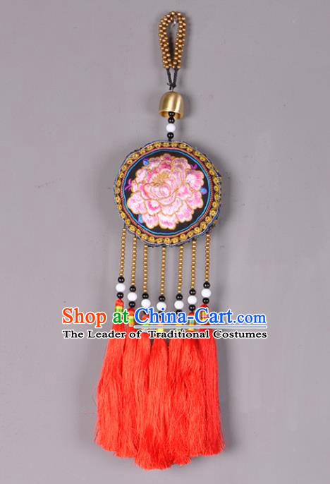 Chinese Traditional Embroidery Accessories Handmade Embroidered Bells Pendant for Women