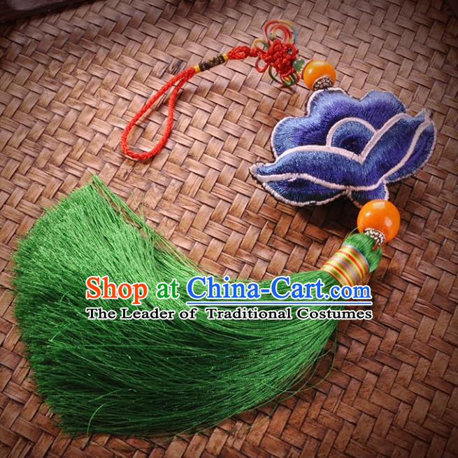 Chinese Traditional Embroidery Accessories Handmade Embroidered Blue Lotus Pendant for Women
