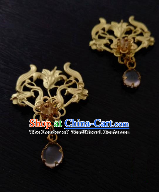 Chinese Traditional Ancient Hair Accessories Classical Brass Hairpins Hanfu Hair Stick Headwear for Women
