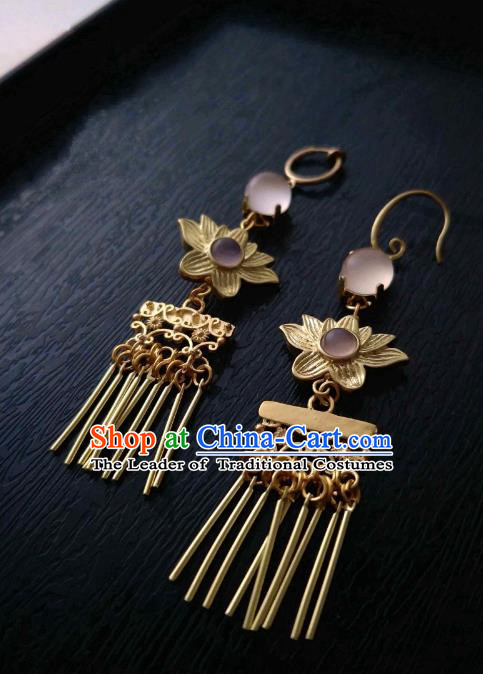Chinese Traditional Ancient Accessories Classical Brass Earrings Hanfu Lotus Eardrop for Women