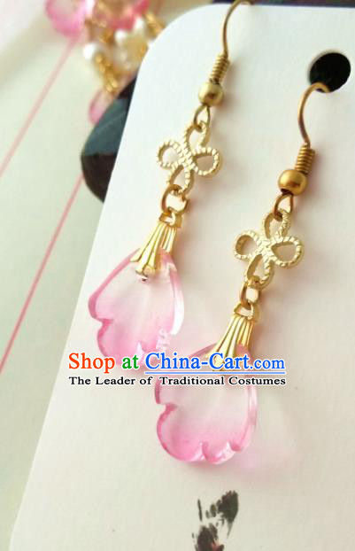 Chinese Traditional Ancient Accessories Classical Brass Earrings Hanfu Eardrop for Women