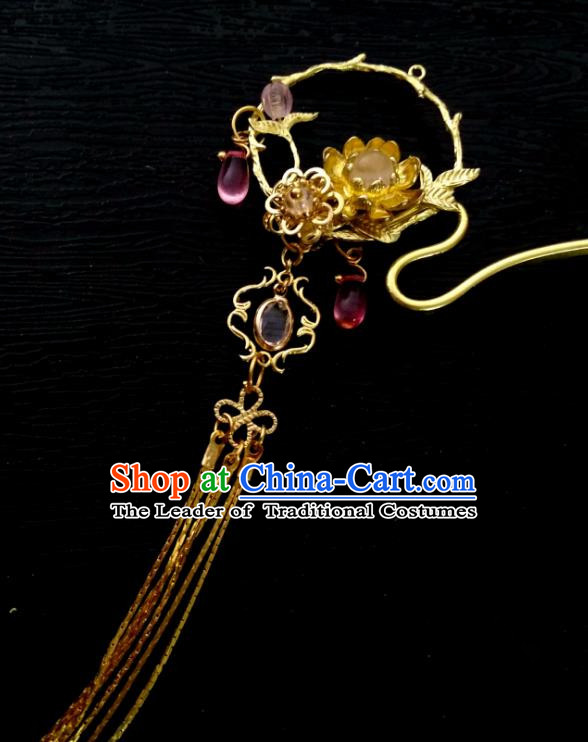 Chinese Traditional Ancient Hair Accessories Classical Colored Glaze Hairpins Hanfu Tassel Step Shake Stick Headwear for Women