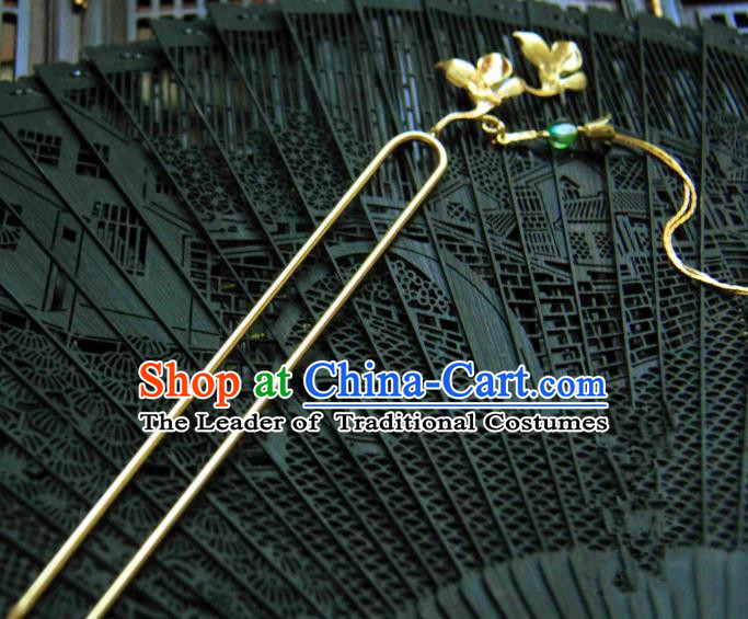 Chinese Traditional Ancient Hair Accessories Classical Hairpins Hanfu Brass Mangnolia Hair Clip Headwear for Women