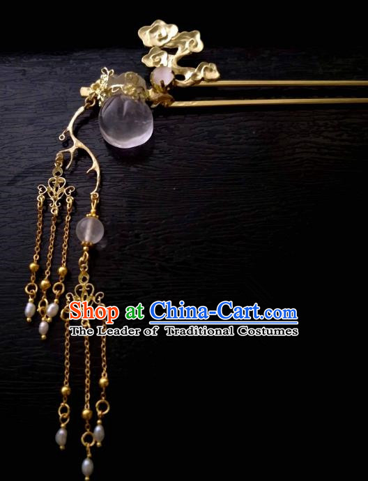 Chinese Traditional Ancient Hair Accessories Classical Brass Hairpins Hanfu Tassel Step Shake Headwear for Women
