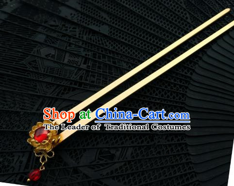 Chinese Traditional Ancient Hair Accessories Classical Brass Lotus Hanfu Hairpins for Women