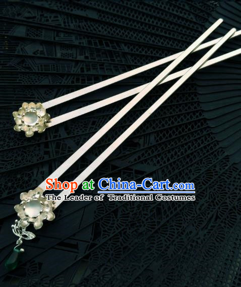 Chinese Traditional Ancient Hair Accessories Classical Hanfu Green Grass Hairpins for Women
