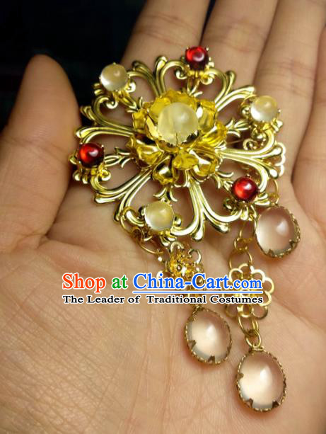Chinese Traditional Ancient Hair Accessories Classical Brass Hair Stick Hanfu Hairpins for Women