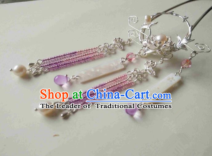 Chinese Traditional Ancient Hair Accessories Classical Purple Beads Tassel Hair Clip Hanfu Hairpins for Women