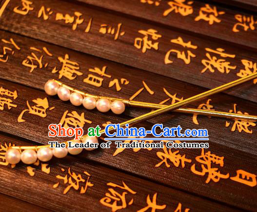 Chinese Traditional Ancient Hair Accessories Classical Pearls Hair Stick Hanfu Hairpins for Women