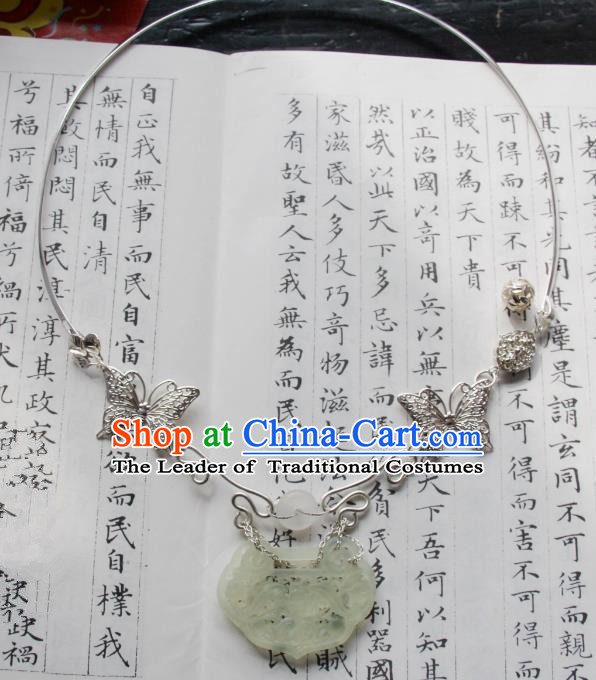 Chinese Traditional Ancient Accessories Butterfly Necklet Classical Hanfu Jade Necklace for Women