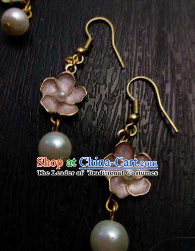 Chinese Traditional Ancient Accessories Earrings Classical Hanfu Pink Flowers Eardrop for Women