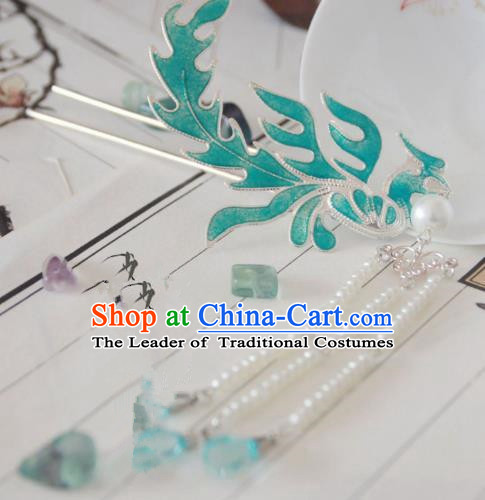 Chinese Traditional Ancient Hair Accessories Classical Beads Tassel Phoenix Hanfu Hairpins for Women
