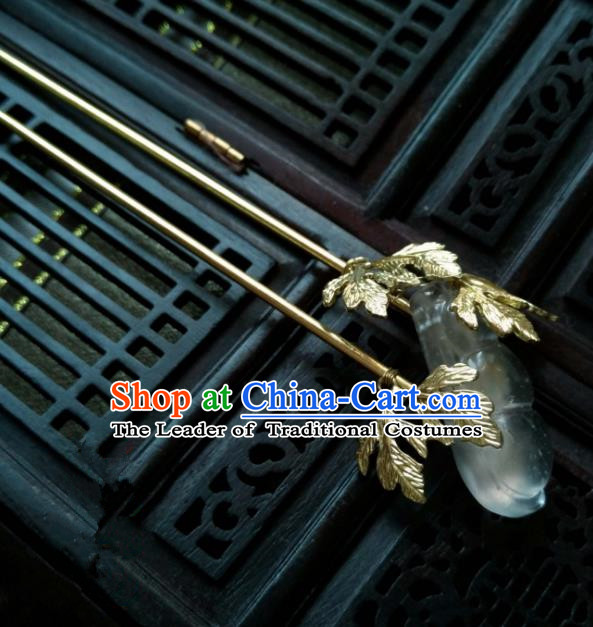 Chinese Traditional Ancient Hair Accessories Classical Brass Hanfu Hairpins for Women