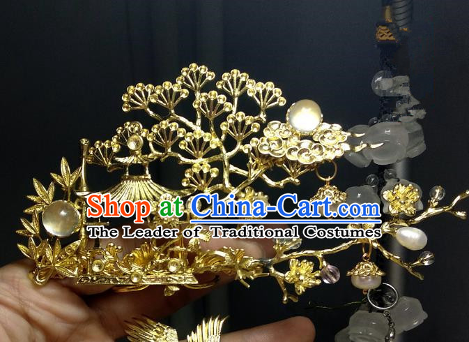 Chinese Traditional Ancient Hair Accessories Classical Brass Hair Coronet Hanfu Hairpins for Women
