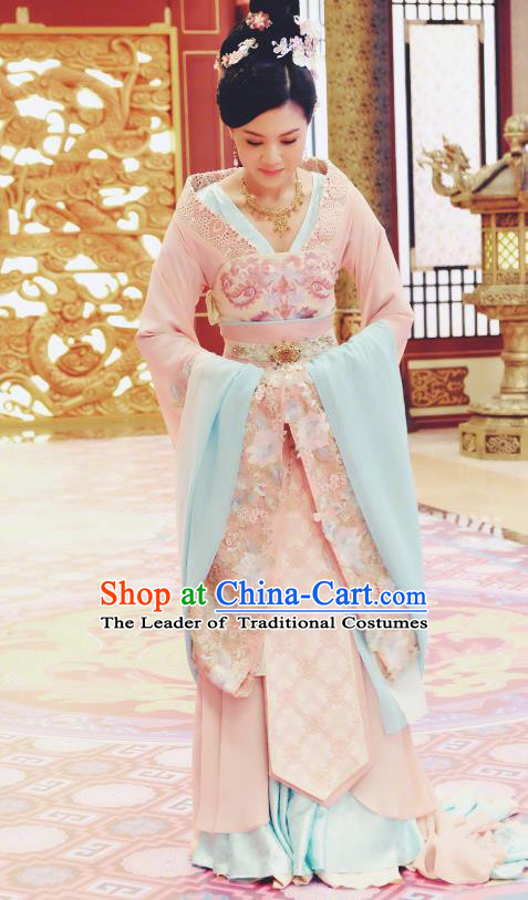 Chinese Ancient Palace Lady Hanfu Dress Tang Dynasty Imperial Concubine Embroidered Historical Costumes for Women