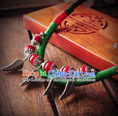 Chinese Traditional Embroidery Accessories Handmade Miao Sliver Leaf Necklace for Women