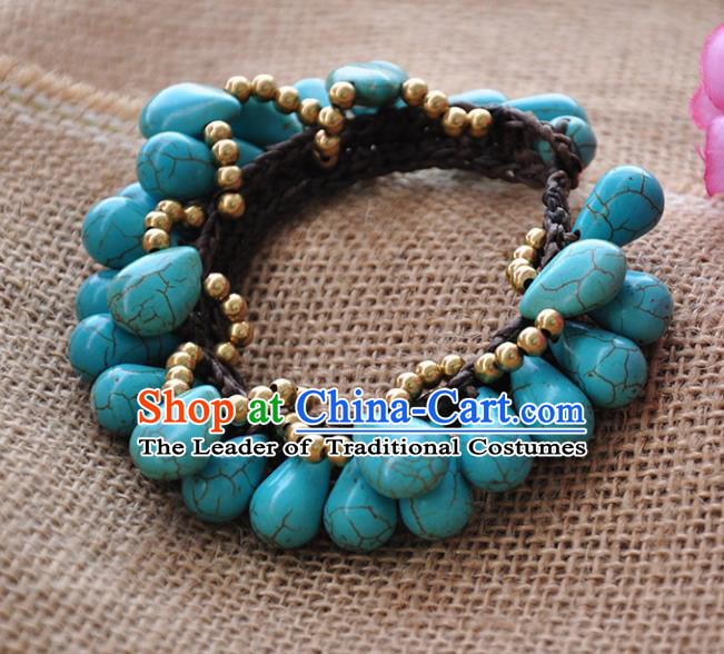 Chinese Traditional Embroidery Accessories Handmade Turquoise Bracelet Chain for Women