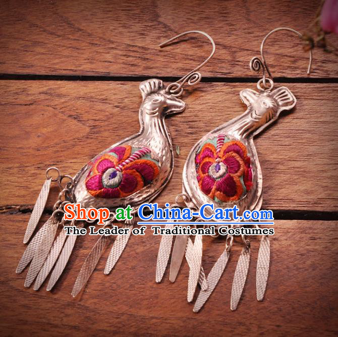 Chinese Traditional Embroidery Accessories Handmade Miao Sliver Earrings for Women