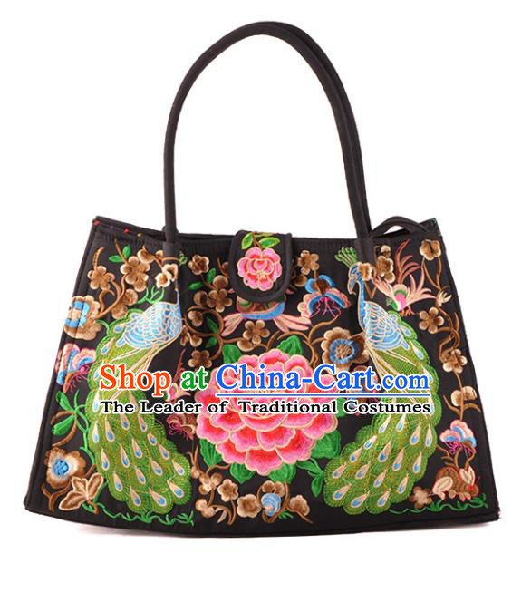 Chinese Traditional Embroidery Craft Embroidered Peacock Peony Bags Handmade Handbag for Women