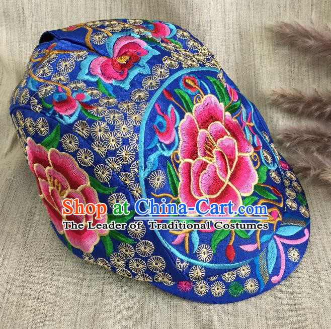 Chinese Traditional Embroidery Casquette Accessories Handmade Embroidered Peony Blue Caps for Women