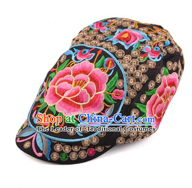 Chinese Traditional Embroidery Casquette Accessories Handmade Embroidered Peony Black Caps for Women