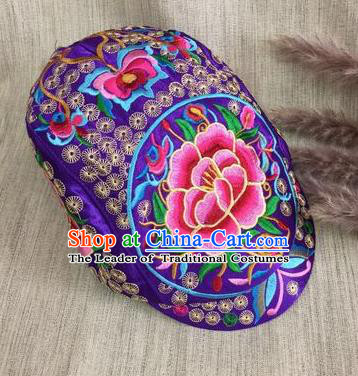 Chinese Traditional Embroidery Casquette Accessories Handmade Embroidered Peony Purple Caps for Women