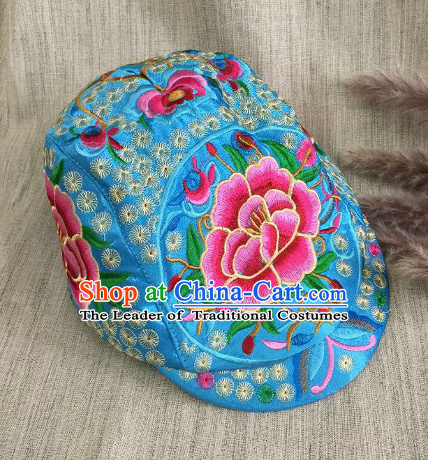 Chinese Traditional Embroidery Casquette Accessories Handmade Embroidered Peony Lake Blue Caps for Women