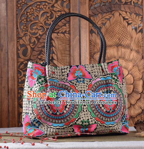 Chinese Traditional Embroidery Craft Embroidered Butterfly Bags Handmade Handbag for Women