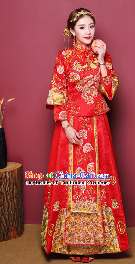 Chinese Traditional Wedding Dress Costume Bottom Drawer, China Ancient Bride Embroidered Xiuhe Suit for Women