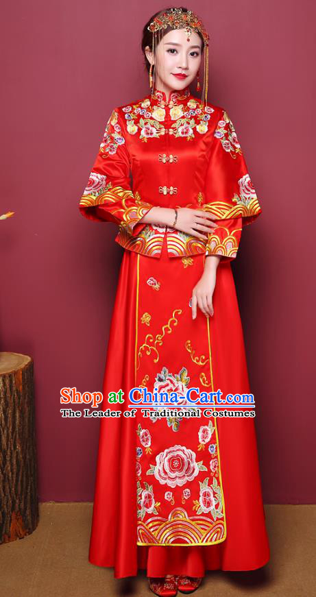 Chinese Traditional Wedding Red Dress Costume Bottom Drawer, China Ancient Bride Embroidered Xiuhe Suits for Women