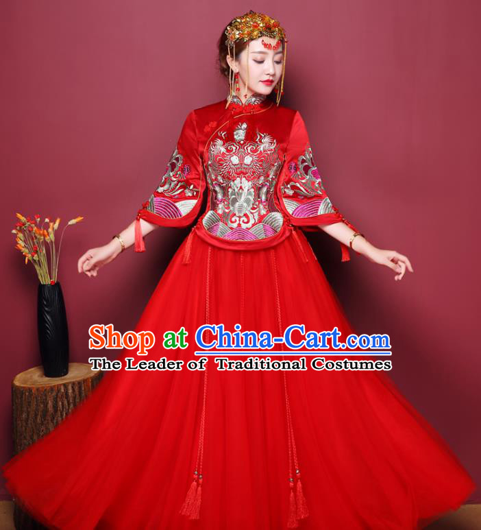 Chinese Traditional Wedding Costume Red Dress Bottom Drawer, China Ancient Bride Embroidered Xiuhe Suits for Women