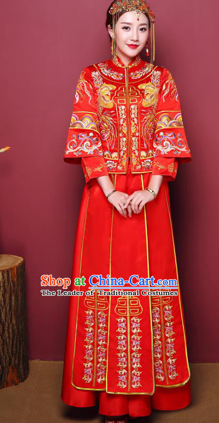 Chinese Ancient Wedding Costume Traditional Bottom Drawer, China Ancient Bride Embroidered Xiuhe Suits for Women