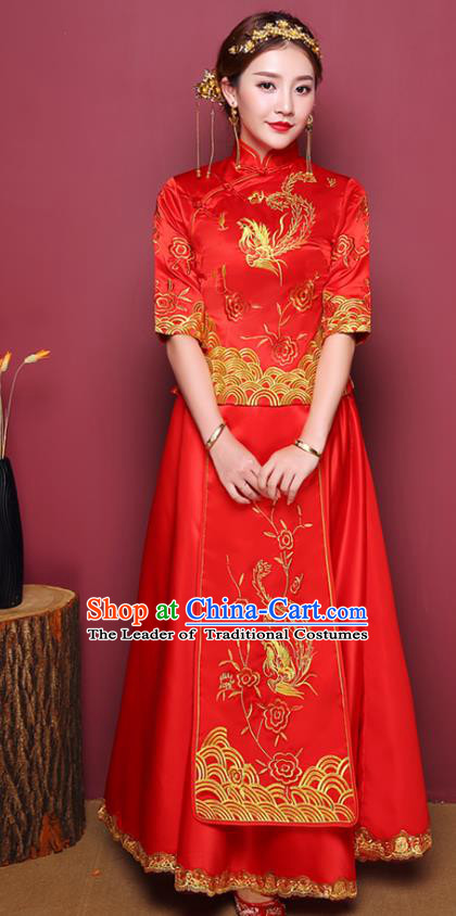 Chinese Ancient Wedding Costume Traditional Bottom Drawer, China Ancient Bride Toast Clothing Embroidered Phoenix Xiuhe Suits for Women