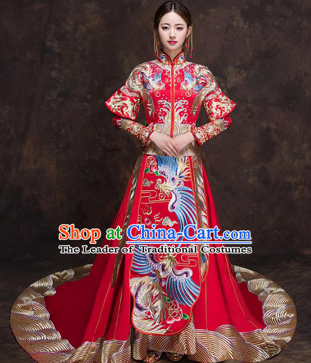 Chinese Traditional Bride Toast Clothing Embroidery Phoenix Red Xiuhe Suits Ancient Bottom Drawer Wedding Costumes for Women