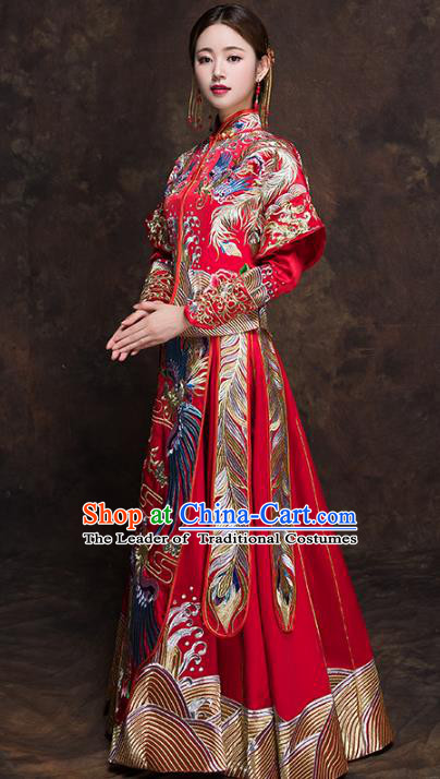 Chinese Traditional Bride Toast Clothing Red Xiuhe Suits Ancient Embroidery Phoenix Bottom Drawer Wedding Costumes for Women