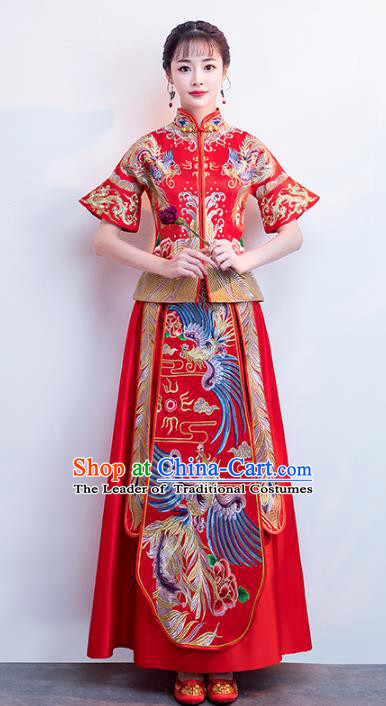 Chinese Traditional Bride Toast Clothing Short Sleeve Xiuhe Suits Ancient Embroidery Phoenix Bottom Drawer Wedding Costumes for Women