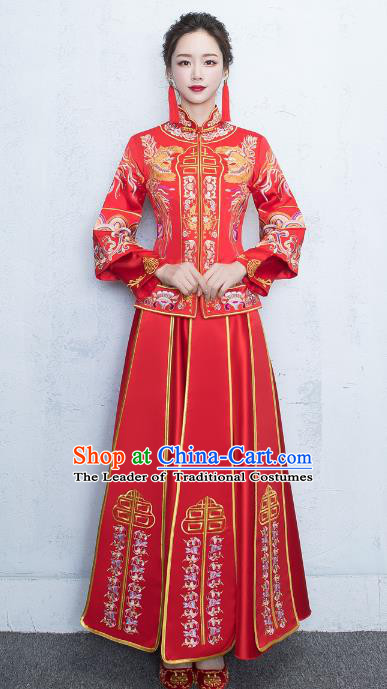 Chinese Traditional Embroidered Xiuhe Suits Bride Red Toast Clothing Ancient Embroidery Peony Bottom Drawer Wedding Costumes for Women