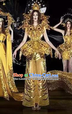 Top Grade Stage Performance Costumes Renaissance Catwalks Golden Full Dress Modern Fancywork Clothing for Women