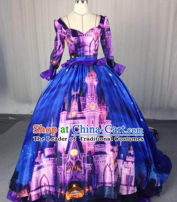 Top Grade Stage Performance Costumes Renaissance Catwalks Palace Blue Full Dress Modern Fancywork Clothing for Women