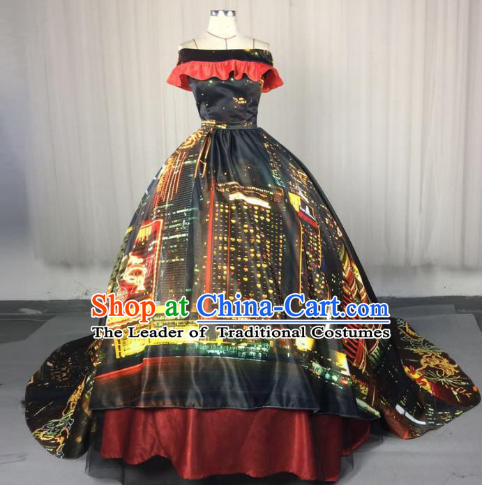 Top Grade Stage Performance Costumes Renaissance Catwalks Palace Black Trailing Full Dress Modern Fancywork Clothing for Women