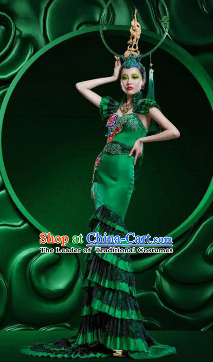 Top Grade Stage Performance Costumes China Style Modern Fancywork Green Full Dress and Headwear for Women