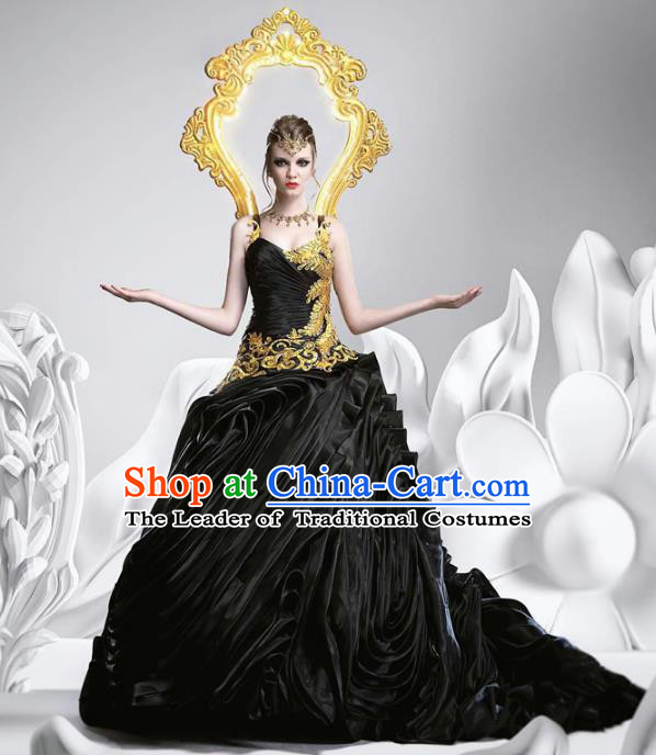 Top Grade Stage Performance Costumes Baroque Modern Fancywork Black Silk Full Dress and Headwear for Women