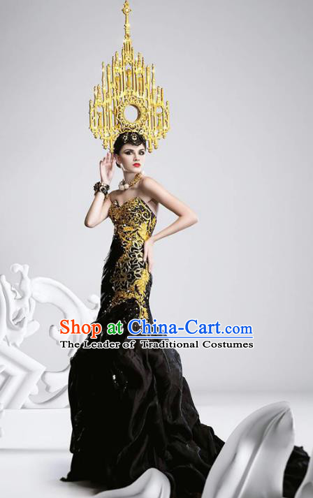 Top Grade Stage Performance Costumes Baroque Modern Fancywork Black Trailing Full Dress and Headwear for Women