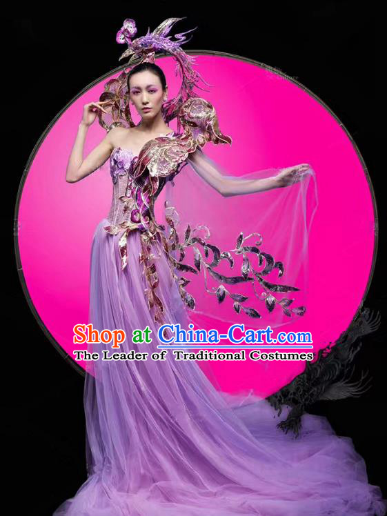 Top Grade Stage Performance Costumes Modern Fancywork Purple Veil Full Dress and Headpiece for Women