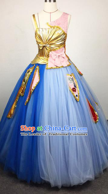 Top Grade Stage Performance Costumes Modern Fancywork Blue Bubble Full Dress for Women