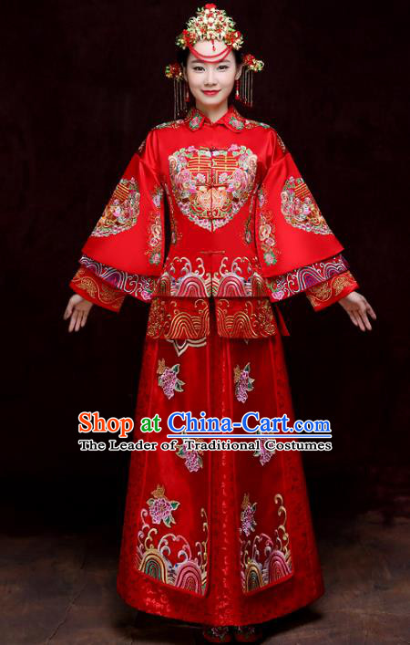 Chinese Traditional Xiuhe Suits Bride Red Full Dress Ancient Embroidered Peony Bottom Drawer Wedding Costumes for Women