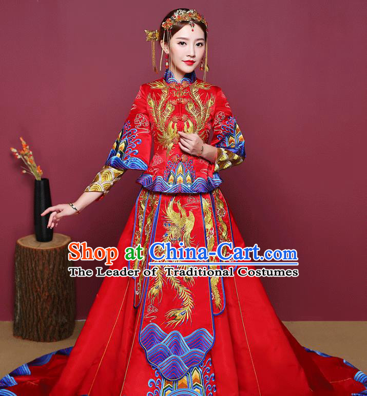 Chinese Ancient Wedding Costume Bride Finery Toast Clothing, China Traditional Delicate Embroidered Trailing Xiuhe Suits for Women