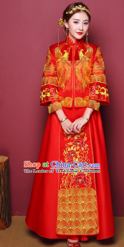 Chinese Traditional Wedding Dress Costume Red Bottom Drawer, China Ancient Bride Embroidered Peony Xiuhe Suit Clothing for Women
