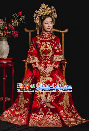 Chinese Ancient Wedding Costume Bride Embroidery Toast Clothing, China Traditional Delicate Embroidered Xiuhe Suits for Women