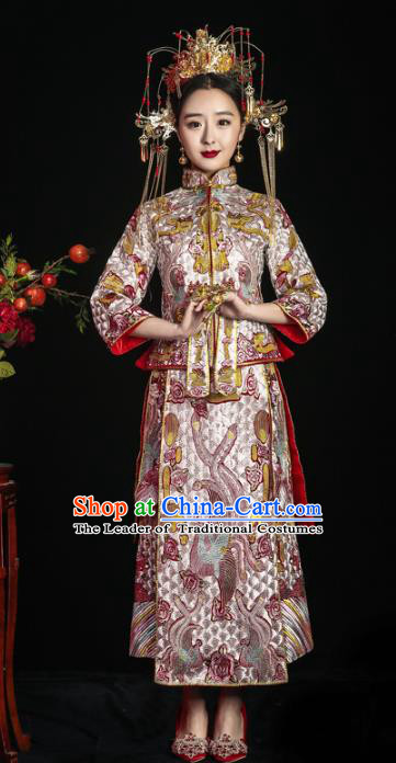 Chinese Traditional Xiuhe Suits Ancient Bride Embroidered Bottom Drawer Wedding Costumes for Women